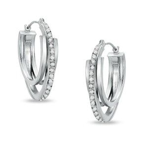 14K White Gold Diamond Fascination Hoop Earrings